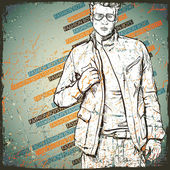 Vintage background with stylish dude. — Vector de stock