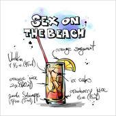 рисованной иллюстрации коктейля. секс на пляже — Cтоковый вектор
