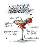 Hand drawn illustration of cocktail. DAIQUIRI STRAWBERRY — Stok Vektör