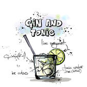 Hand drawn illustration of cocktail. GIN and TONIC — Stock Vector