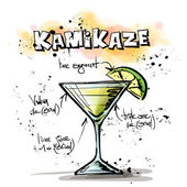 Hand drawn illustration of cocktail. KAMIKAZE — Stock Vector