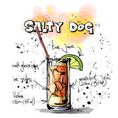 Hand drawn illustration of cocktail. SALTY DOG — Stock Vector