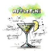 Hand drawn illustration of cocktail. APPLETINI — Stock Vector