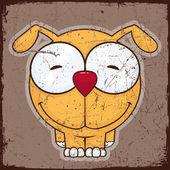Tierische grunge-karte mit lustigen cartoon hund. — Stockvektor