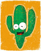 Vector grunge card with cartoon cactus character. — Stok Vektör