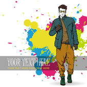 Hand drawing of stylish boy in sketch style. — Stock Vector