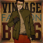 Stylish dude on a grunge background. — Vector de stock