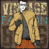 Stylish dude on a grunge background. — Vecteur