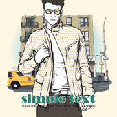 Stylish guy on a street background — Stock Vector