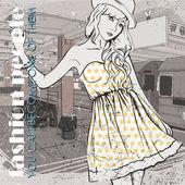 地下鉄の駅についてのスケッチ スタイルで素敵な若い女の子 — ストックベクタ