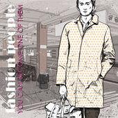 时尚的年轻小伙子,在地铁站 — 图库矢量图片