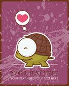Vektör kartı zekâ sevimli çizgi kaplumbağa karakter. — Stok Vektör