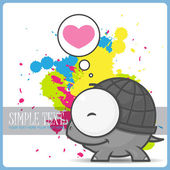 Vector card wit cute cartoon turtle character. — Stock Vector
