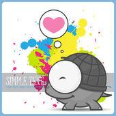 Vector tarjeta ingenio lindo personaje tortuga. — Vector de stock