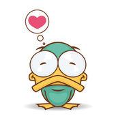 Vector card with cute cartoon duck character. — Stock Vector