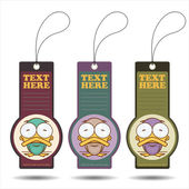 Set of tags with funny cartoon duck — 图库矢量图片