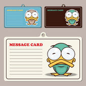 Set of message card with cartoon duck and paper duck fixed with sticky tape — Stock Vector