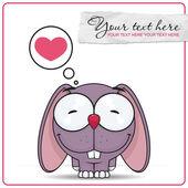Vector illustration of cute cartoon bunny character and heart. — Stock Vector