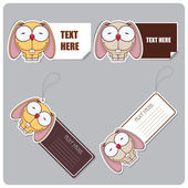 Set of tags and stickers with funny cartoon rabbit. — Stockvector
