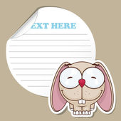 Sticker with funny cartoon rabbit — Stockvektor