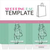 女の子の文字と紙の買い物袋のためのテンプレート — ストックベクタ