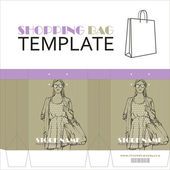 Template for paper shopping bag with girl character — Stock Vector
