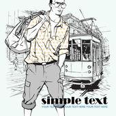 时尚男人和老电车矢量插图. — 图库矢量图片
