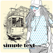 Vector illustration of a fashion girl and old tram. — Stockvektor