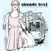 时尚女孩和老电车矢量插图. — 图库矢量图片