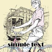 漂亮女孩的时尚和老电车矢量插图 — 图库矢量图片