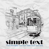 Vector illustration of old tram. — Stock Vector