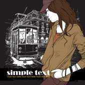 Vector illustration of a fashion girl and old tram. — ストックベクタ