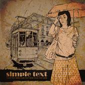 Mooie mode meisje en oude tram — Stockvector
