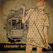 Pretty fashion girl and old tram — Stockvector