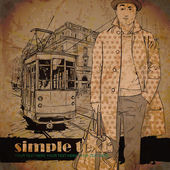Young stylish guy and old tram — Stock vektor