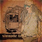 漂亮女孩的时尚和老电车 — 图库矢量图片