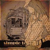 ファッションでかなりの女の子と古い路面電車 — ストックベクタ
