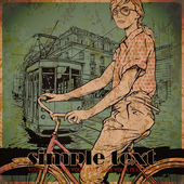 Fashion girl on bike and old tram. — Vector de stock