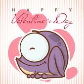 Tarjeta de felicitación del día de san valentín con personajes de dibujos animados rana. — Vector de stock
