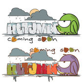 Autumnal vector cards with funny cartoon frogs. — Stock Vector
