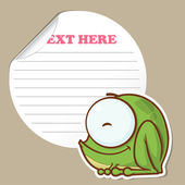 Message sticker with funny cartoon frog — Stock Vector