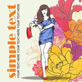 与女孩时尚花卉矢量卡. — 图库矢量图片