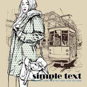 Vektor-Illustration eines hübschen Mode Mädchen und alte Straßenbahn — Stockvektor