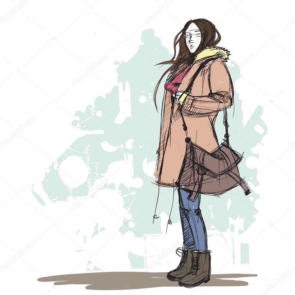 Hand Drawing Of A Pretty Fashion Girl In Sketch Style U2014 Stock Vector U00a9 R_lion_O #34235629