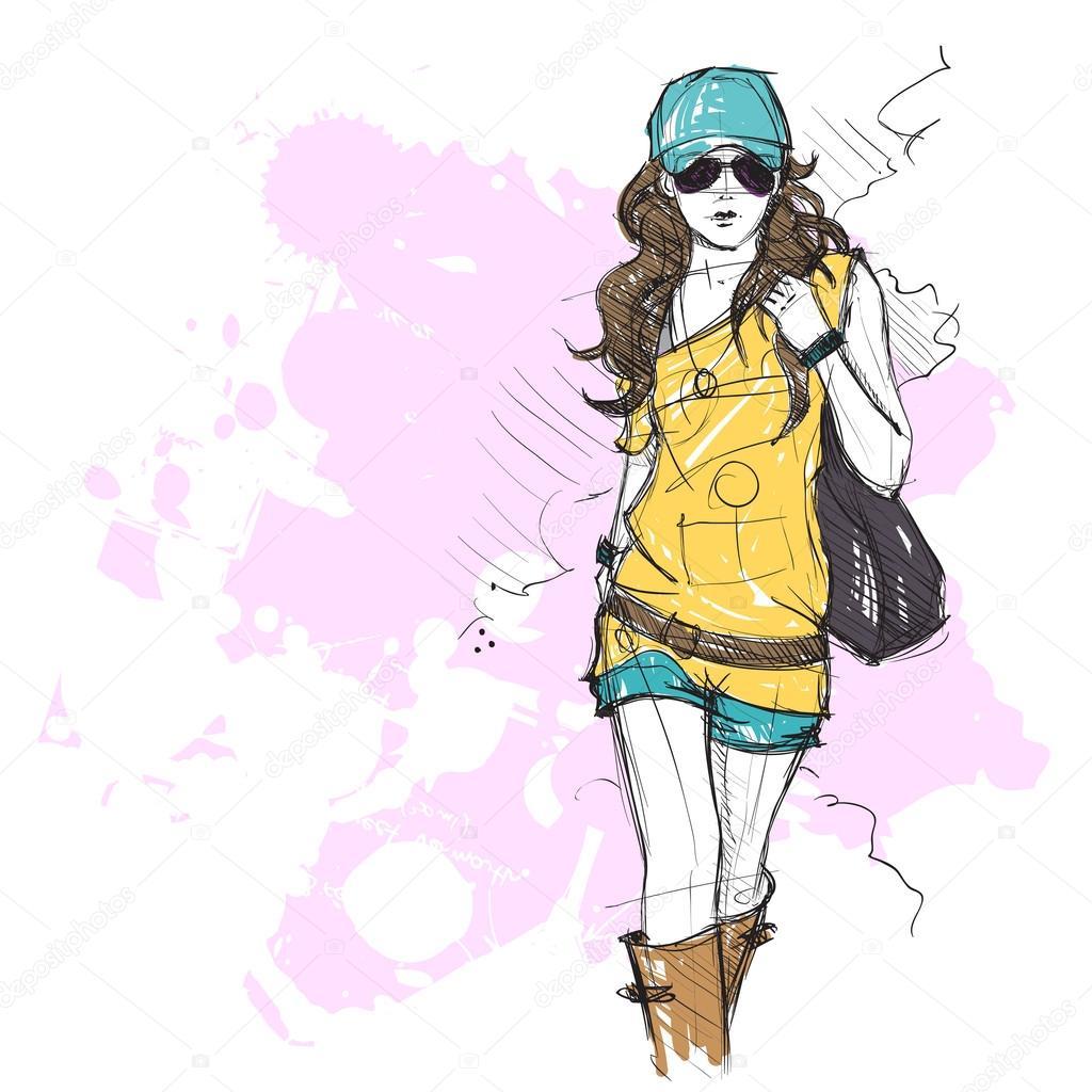 Hand Drawing Of A Pretty Fashion Girl In Sketch Style U2014 Stock Vector U00a9 R_lion_O #34235757