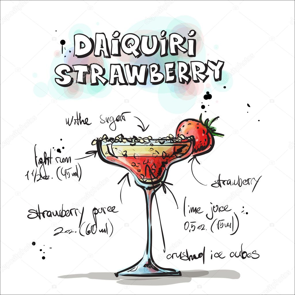 手绘插图的鸡尾酒.黛克瑞草莓