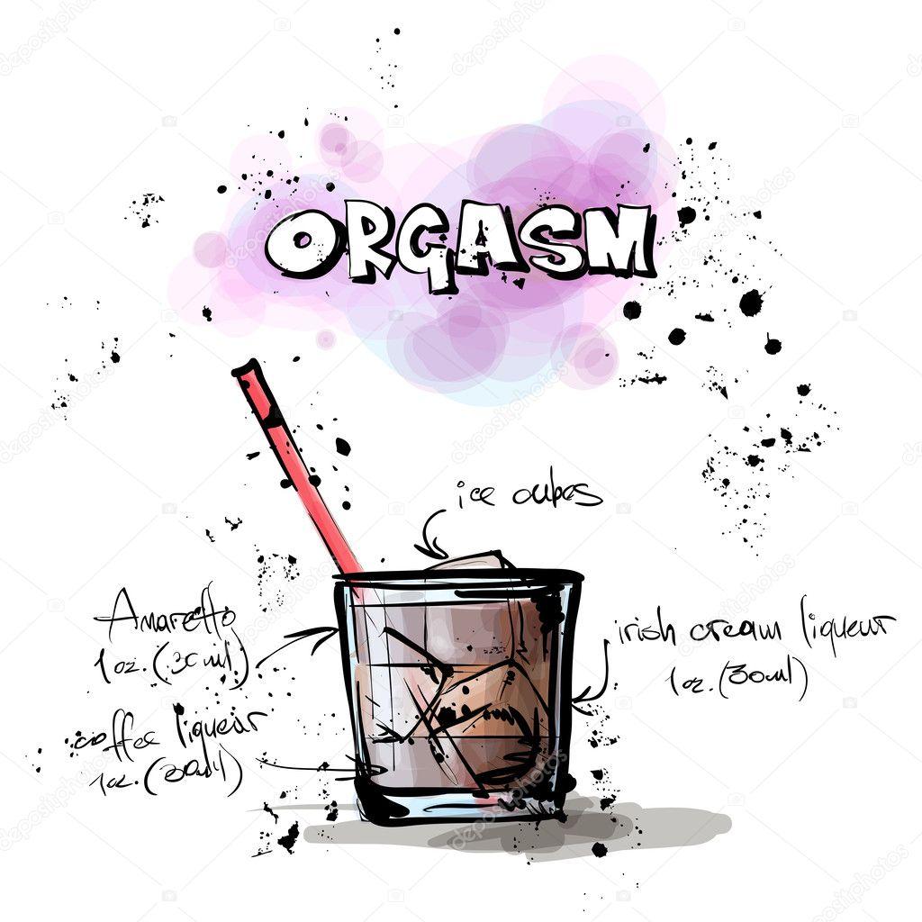 手绘插图的鸡尾酒.高潮