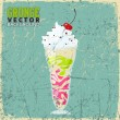 Vintage scratched background with milkshake. — Stockvectorbeeld