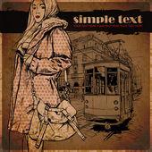 Ilustración vectorial de una chica de moda bonito y antiguo tranvía — Vector de stock