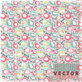 Vintage scratched background with cartoon birds. — Stock Vector